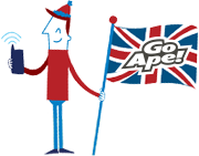 illustration of man holding flag with Go Ape logo