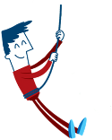 illustration of man on zip wire